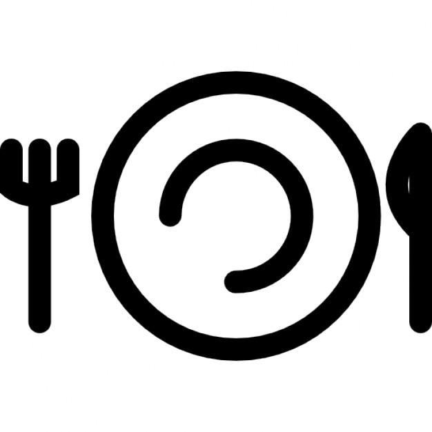 tenedor cuchillo y plato esquema descargar iconos gratis