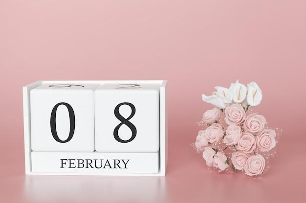 08 février. jour 8 du mois. cube de calendrier sur fond rose moderne, concept de commerce et événement important. Photo Premium