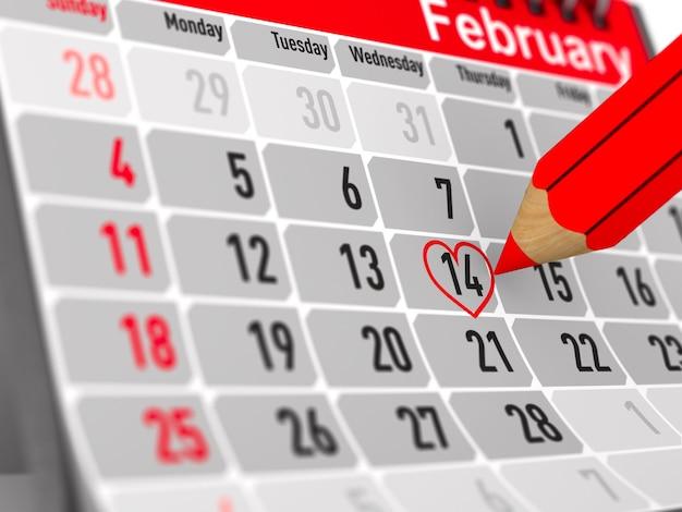 14 Février. Calendrier Sur Fond Blanc. Illustration 3d Isolée Photo Premium