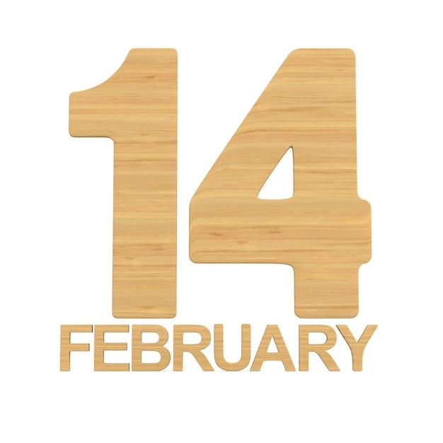 14 Février Sur Fond Blanc. Illustration 3d Isolée Photo Premium