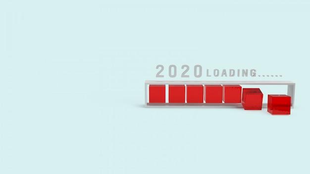 2020 chargement du rendu 3d pour le contenu de vacances. Photo Premium
