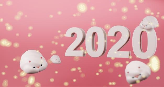 2020 Nouvel An Chinois. Rats Mignons Flottant Sur Rose Avec Des Flocons De Neige Légers Et Icône 2020. Année Du Rat Photo Premium
