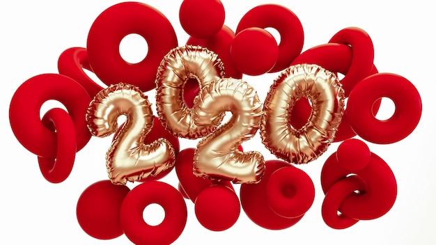 2020 nouvel an. formes abstraites en or rouge et métallique avec lettrage de chiffres en feuille. Photo Premium