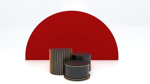 3 Podiums Noirs, Espace Blanc, Arrière-plans Rouges Pour Célébrer Le Nouvel An Photo Premium