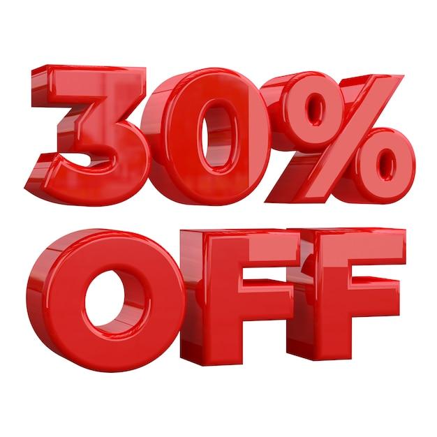 30% de réduction sur fond blanc, offre spéciale, offre exceptionnelle, vente. trente pour cent de réduction promotionnelle Photo Premium