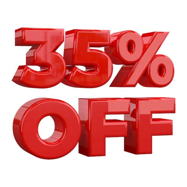 35% de réduction sur fond blanc, offre spéciale, offre exceptionnelle, vente. trente cinq pour cent de réduction promotionnelle Photo Premium