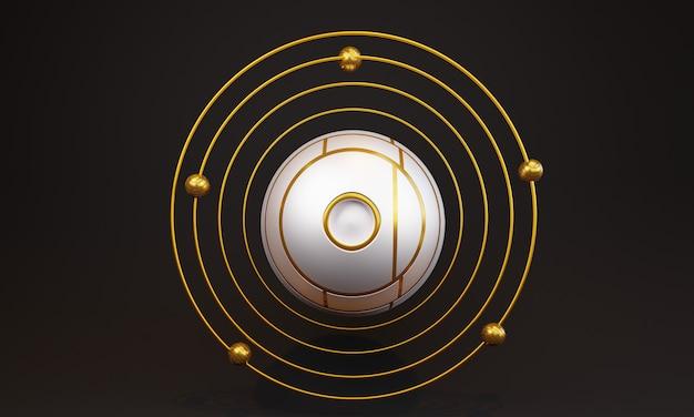 3d Abstrait Boule Blanche Avec Des Cercles Photo Premium