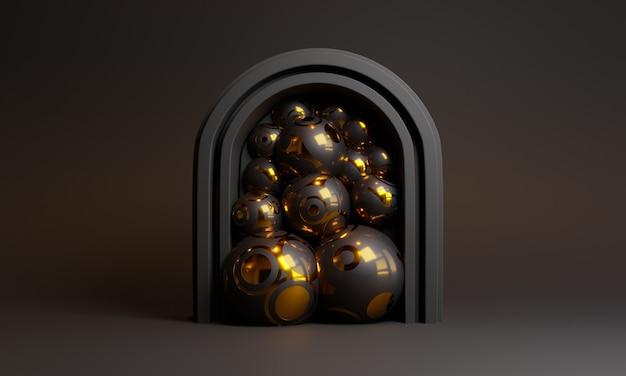 3d Abstrait Scène Noire Avec Porte Et Boules Photo Premium