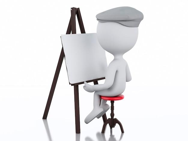 3d blanc peintre avec un chevalet Photo Premium