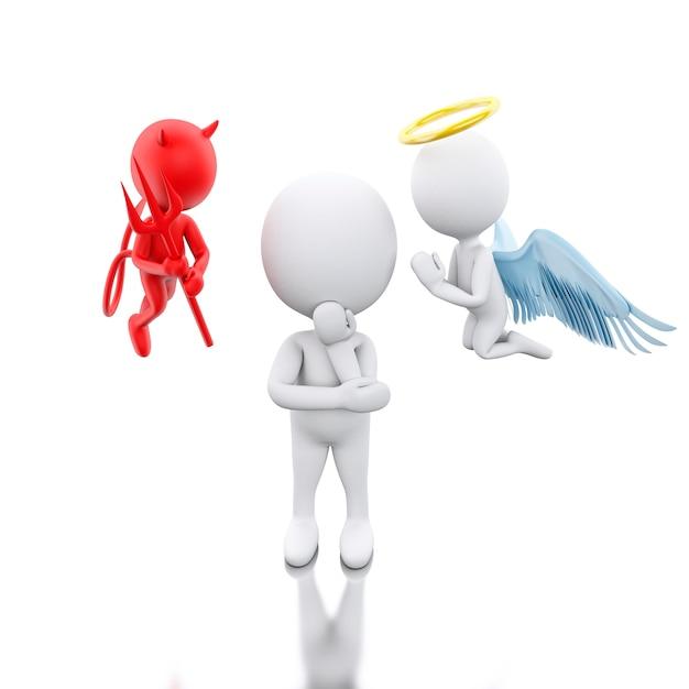 3d les blancs avec angel et devil. Photo Premium