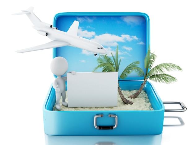 3d blancs avec enseigne dans une valise de voyage. concept de l'été Photo Premium