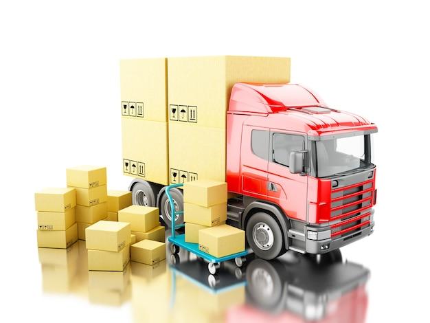 3d camion avec des boîtes de carton et un camion à main Photo Premium