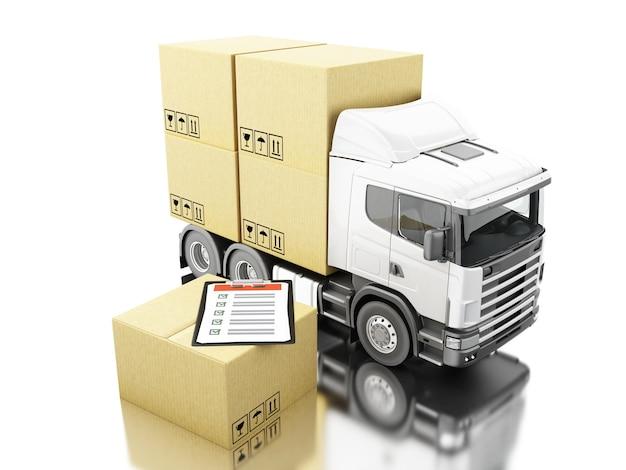 3d camion avec des boîtes de carton et liste de contrôle Photo Premium