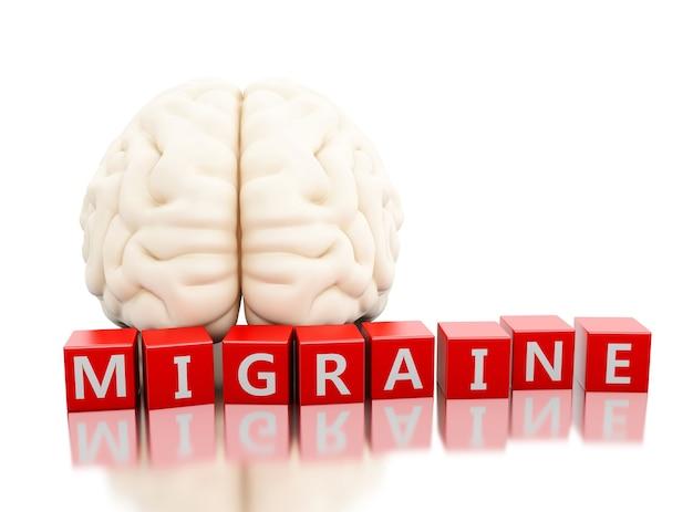 3d cerveau humain avec mot migraine en cubes Photo Premium