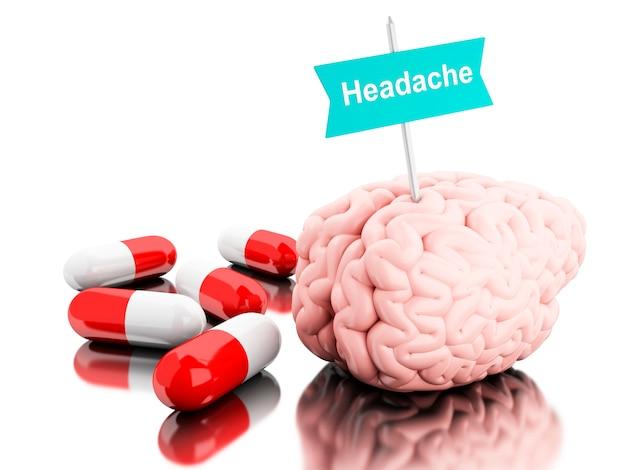 3d cerveau avec quelques pilules et enseigne avec le mot mal à la tête. Photo Premium