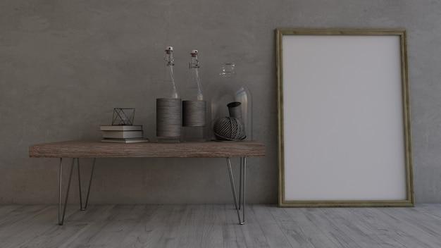 3d chambre vide contemporaine et cadre photo Photo gratuit