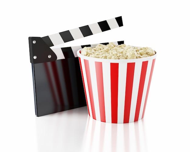 3d cinéma clapet et pop-corn Photo Premium