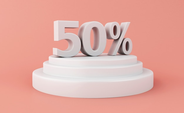 3d discount 50 pour cent de réduction. Photo Premium