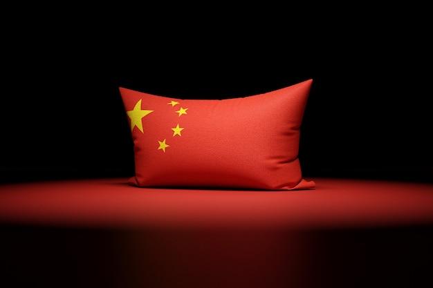 3d Illustration D'oreiller Rectangulaire Représentant Le Drapeau National De La Chine Photo Premium