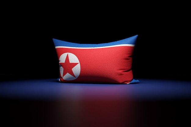 3d Illustration D'oreiller Rectangulaire Représentant Le Drapeau National De La Corée Du Nord Photo Premium