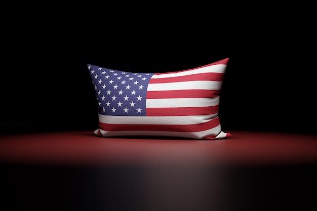 3d Illustration D'oreiller Rectangulaire Représentant Le Drapeau National Des Etats-unis Photo Premium