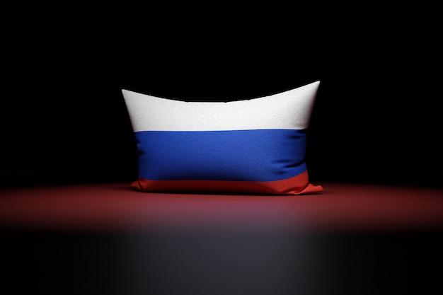 3d Illustration D'oreiller Rectangulaire Représentant Le Drapeau National De La Russie Photo Premium