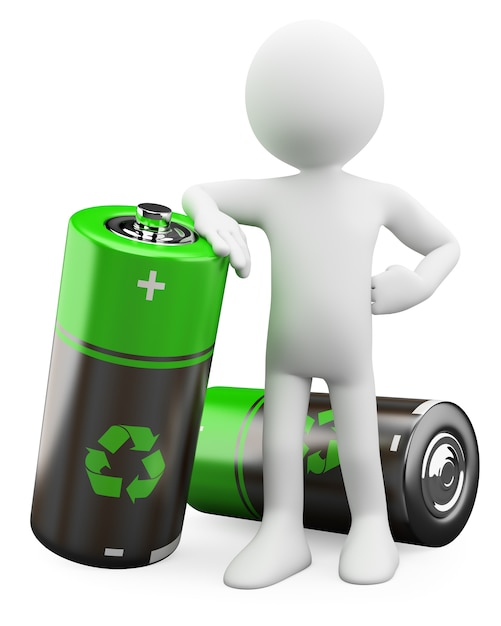 3d Man - Piles Recyclables Photo Premium