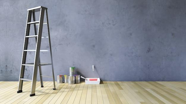 3d mur blanc et outils de peinture Photo Premium