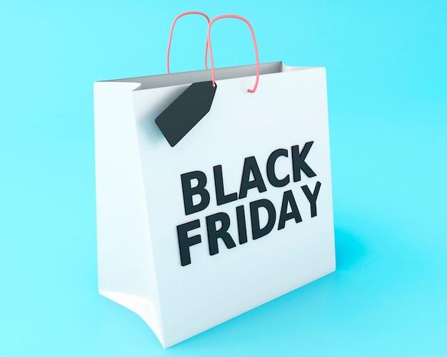 3d noir vendredi sur le sac à provisions. Photo Premium