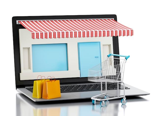 3d ordinateur portable magasin, e-commerce. Photo Premium