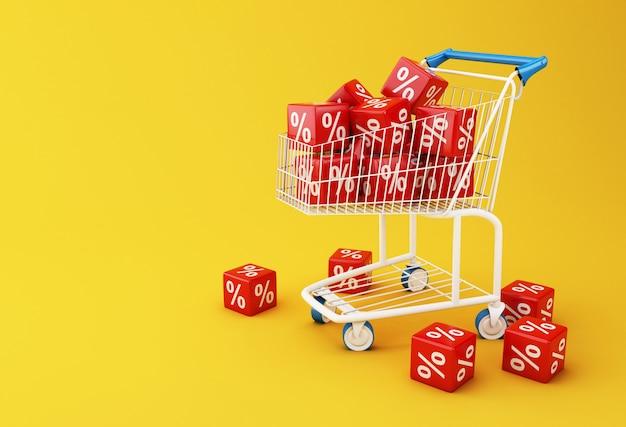 3d panier avec des cubes de réduction. Photo Premium