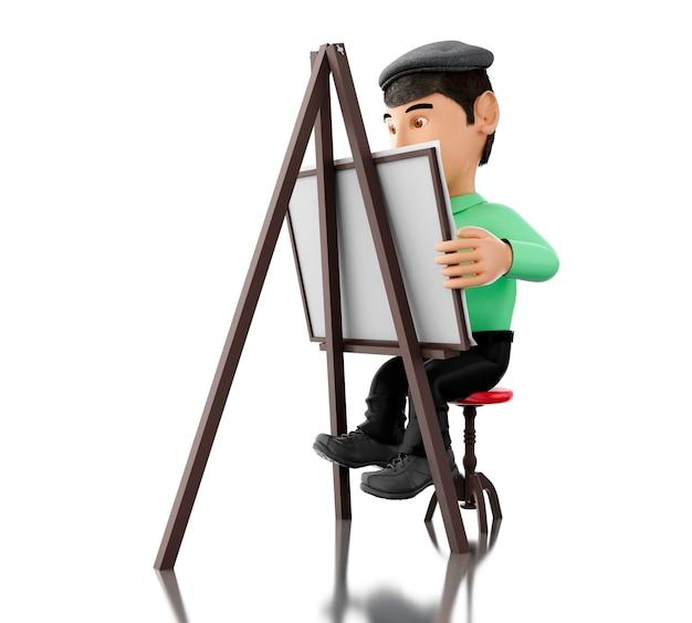 3d personnes artiste avec un chevalet Photo Premium