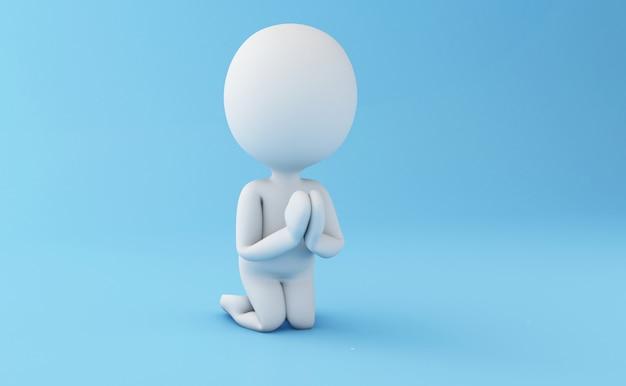 3d personnes blanches dans une posture de prière. Photo Premium