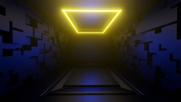 3d Plate-forme Rendu Image De Fond Abstrait Chambre Noire Lumières Jaunes Photo Premium
