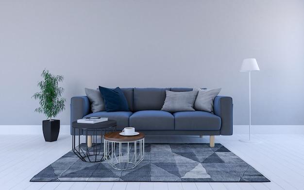 3d réaliste rendu de l'intérieur de la salle de séjour moderne avec canapé, canapé et table Photo Premium