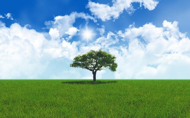 3d rendent d'un chêne dans le paysage herbeux 2701 Photo gratuit