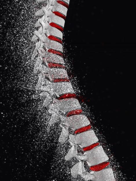 3d rendent d'une colonne vertébrale avec effet de désintégration Photo gratuit