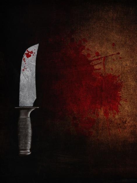 3d rendent d'un couteau sanglant sur un fond grunge sanglant Photo gratuit