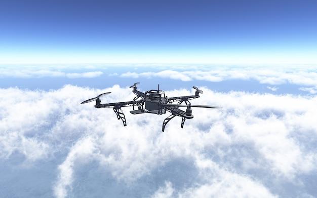 3d rendent d'un drone volant au-dessus des nuages Photo gratuit
