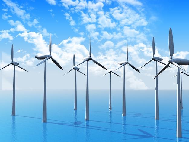3d rendent des éoliennes dans l'océan Photo gratuit