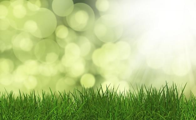 3d rendent d'herbe verte luxuriante sur un fond défocalisé Photo gratuit