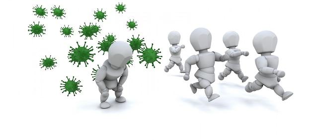 3d rendent des hommes entourés par des bactéries Photo gratuit