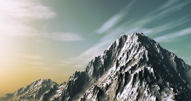 3d Rendent D'une Montagne Enneigée Photo gratuit