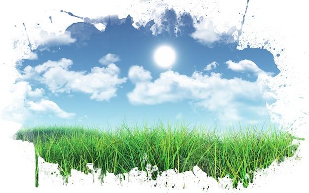 3d rendent d'un paysage herbeux contre un ciel bleu avec des nuages blancs moelleux avec un cadre d'éclaboussure de peinture Photo gratuit