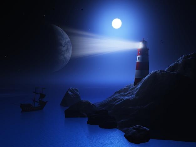3d Rendent D'un Phare Avec Un Navire Sur L'océan Photo gratuit