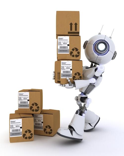 3d rendent d'un robot avec des boîtes d'expédition Photo gratuit