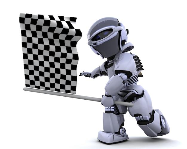 3d rendent d'un robot onduler drapeau à damier Photo gratuit