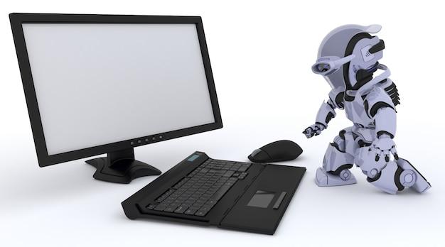 3d rendent d'un robot avec un ordinateur Photo gratuit