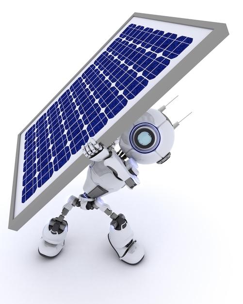 3d rendent d'un robot avec un panneau solaire Photo gratuit