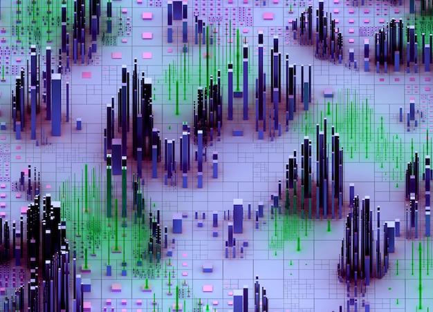 3d Render Of Abstract Art 3d Scatter Paysage Topographique Fond 3d Avec Des Montagnes Surréalistes Vallée Basée Sur Des Barres De Boîtes Ou Des Piliers De Cubes Petits Et Grands Aléatoires En Dégradé De Couleur Violet Et Vert Photo Premium